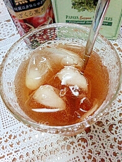 水出しで☆パパイヤ酵素&黒酢入りアイス甜茶♪