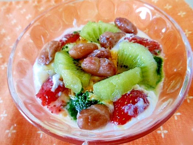 ☆果物、豆、きな粉、青汁のヨーグルト☆