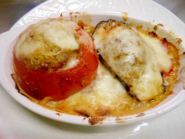 ★トマト&茄子の肉詰めオーブン焼き★