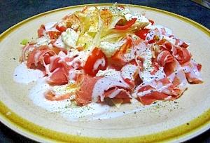 セロリと生ハムの2種チーズのサラダ
