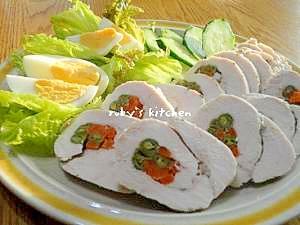 蒸しましょ☆ヘルシー鶏ムネ肉の野菜巻き