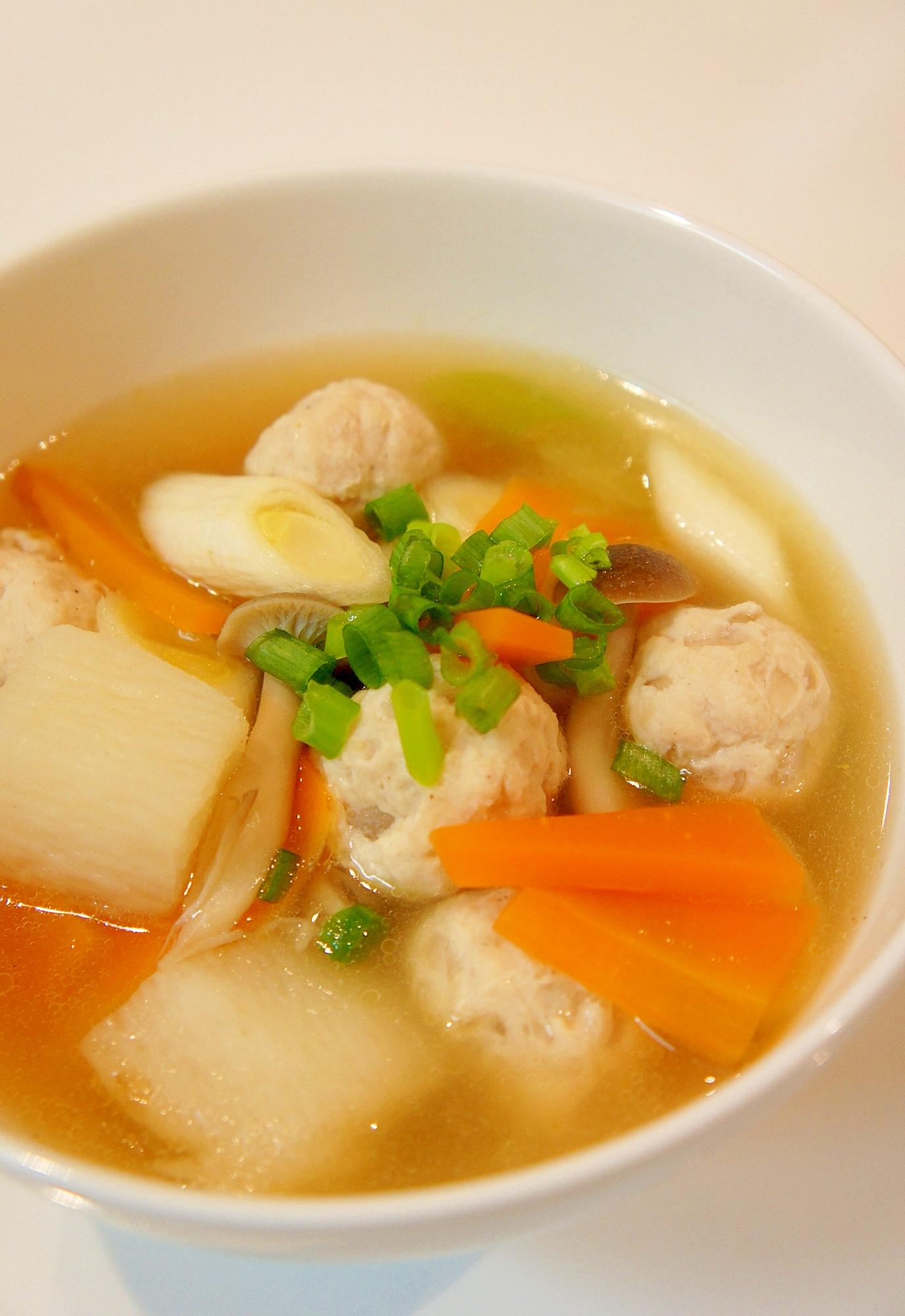 簡単♪生姜たっぷり鶏団子と長芋のあっさりスープ