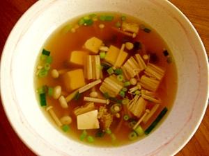えのき茸と豆腐の中華スープ