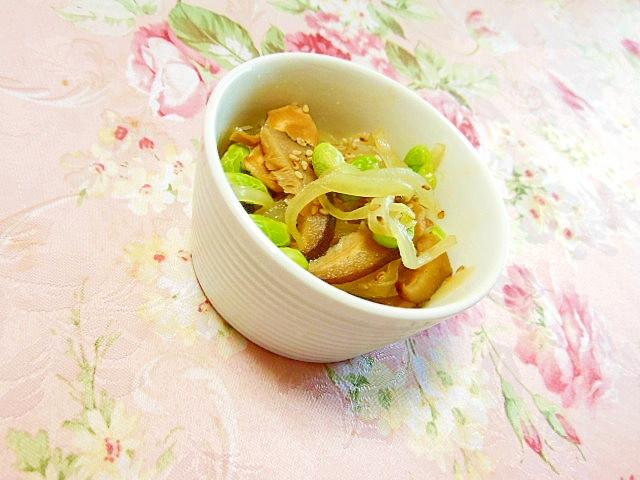 白だし生姜deどんこ&玉葱&枝豆の甘辛煮