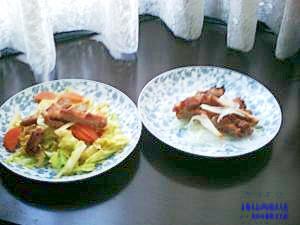 一枚余分にお肉を買って春野菜とで副菜2種