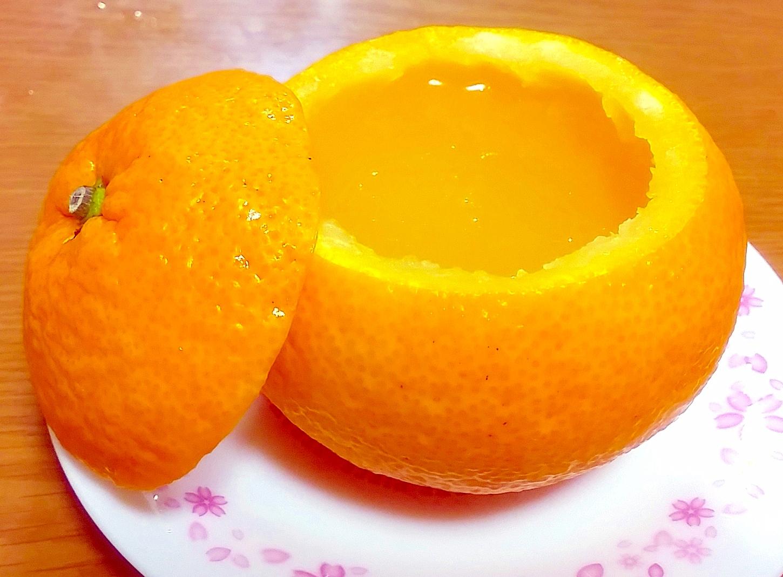 夏みかんの器で☆涼やか夏みかんゼリー♪ レシピ・作り方 by yomogimotir|楽天レシピ