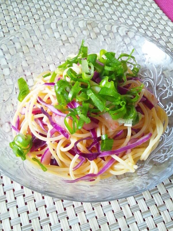 赤海老と紫キャベツの冷製パスタ