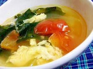 トマトとわかめのたまごスープ