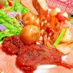 ラムラック肉の林檎マリネソテー