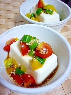 サッパリと☆オクラ&トマトのせ冷ややっこ