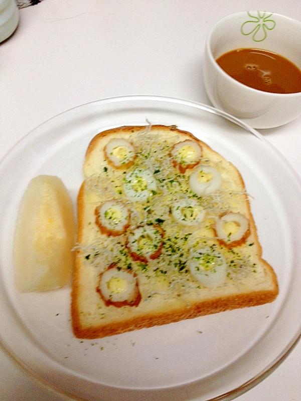 チーズ風味のちくわとちりめんじゃこトースト