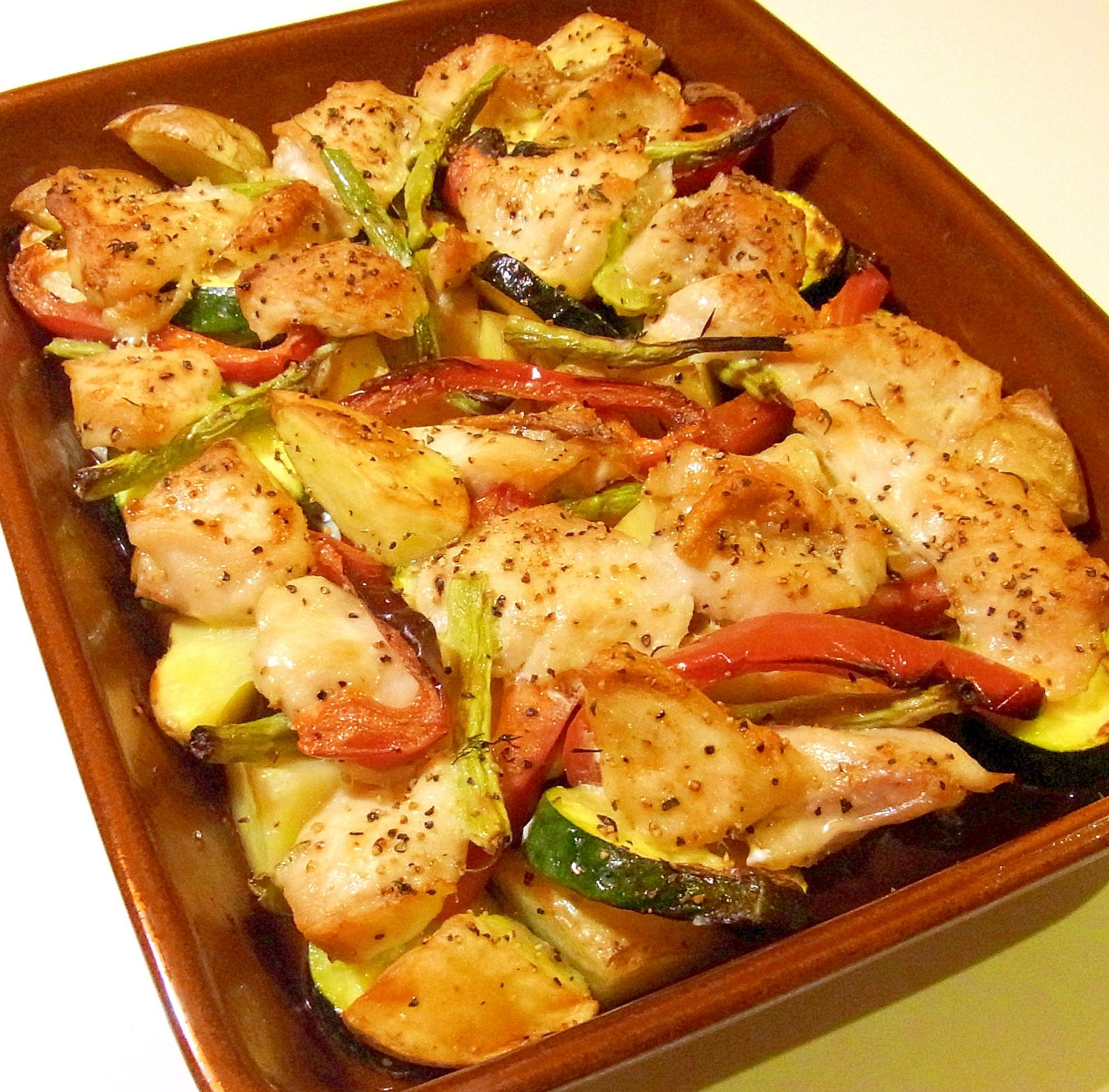 どっさり野菜とチキンのオーブン焼き レシピ・作り方 by ☆メリッコ☆|楽天レシピ