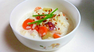サツマイモ入りのミルク粥