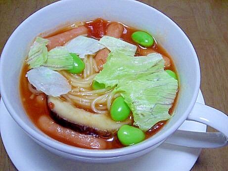 枝豆入りトマトスープスパ