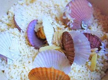 ルクルーゼで簡単ヘルシー、たっぷり生姜のホタテご飯