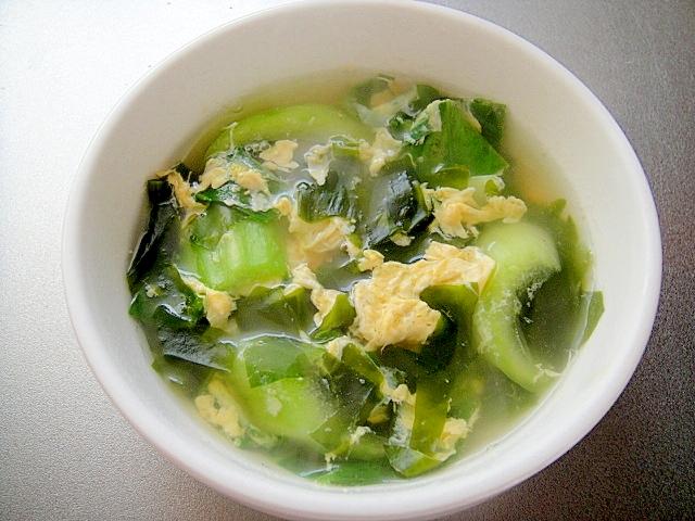 チンゲン菜とわかめの和風たまごスープ