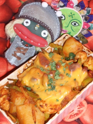 ジャガ芋とグリーンアスパラのカレーグラタン
