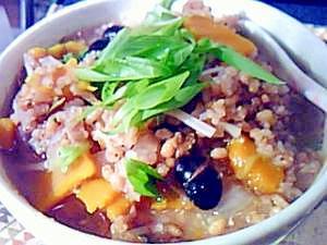 浸水不要で玄米食・炒り玄米と黒豆の雑炊