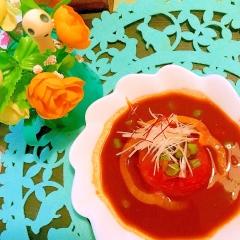 丸ごとトマトの牛すね肉コチュジャンスープ