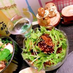 生姜佃煮de油茄子と水菜の和さらだ