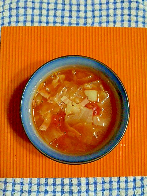 キャベツとベーコンのトマトスープ♪