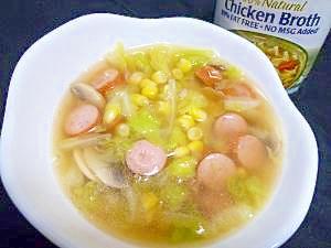 チキンブロスで具沢山スープ♪