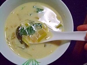 小松菜のコンソメミルクスープ
