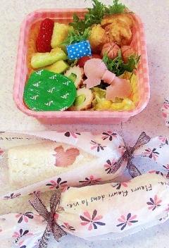 幼稚園弁当 サンドイッチ(ロール)&ハムリボン