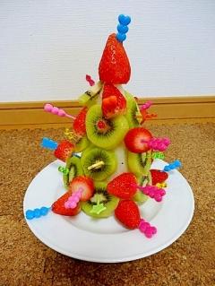 うちのサラダ「クリスマスツリーのフルーツサラダ」