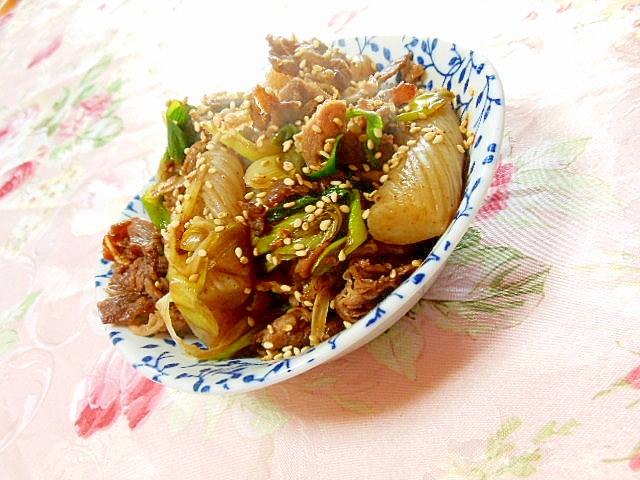 ウナギのたれde蒟蒻と長葱と牛肉の甘辛炒め