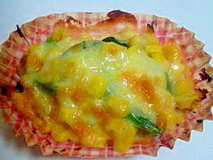 お弁当に♪ほうれん草とコーンのチーズ焼き