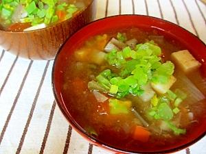 レンコン・豆腐・トマトの味噌スープ