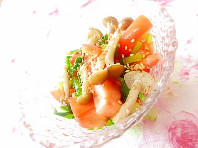 トマトとシメジと大根葉のスパイス・サラダ