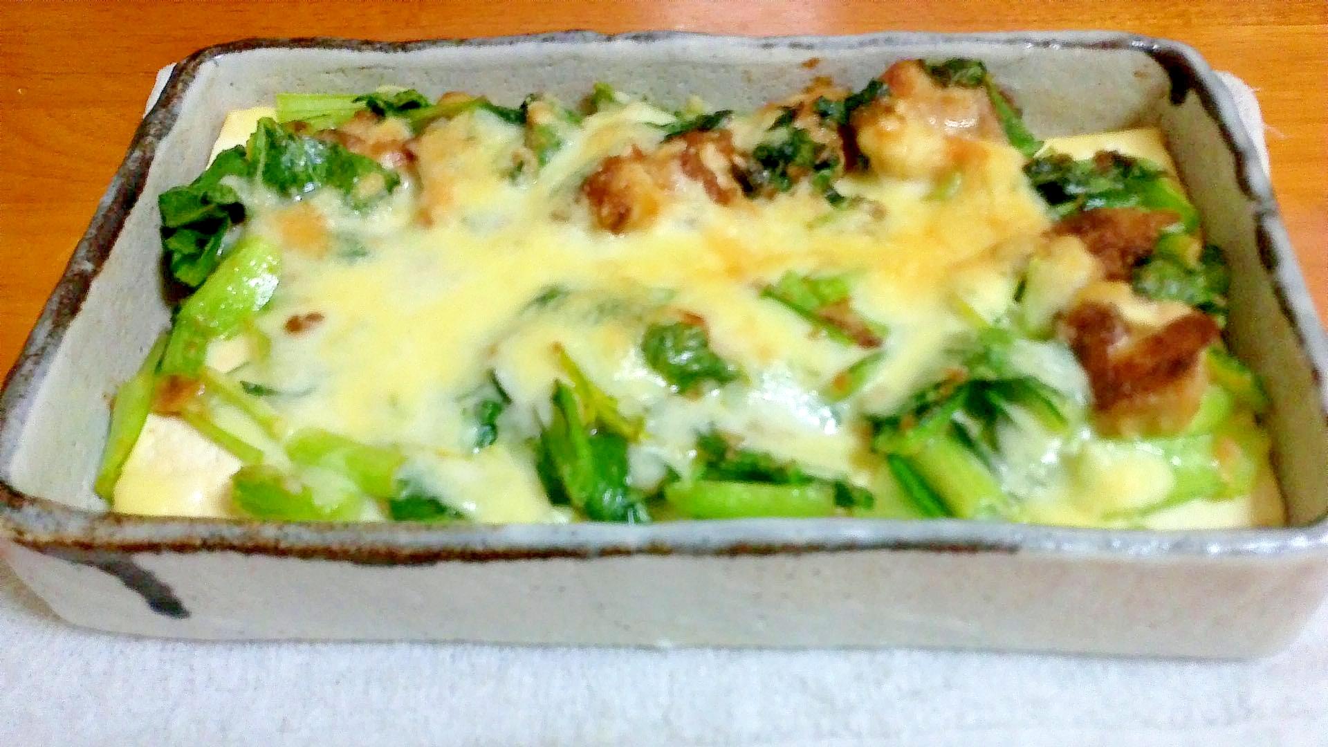 鶏と小松菜の、豆腐のチーズ焼き