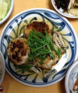 塩麹でふっくらあんかけ竹の子入り豆腐ハンバーグ