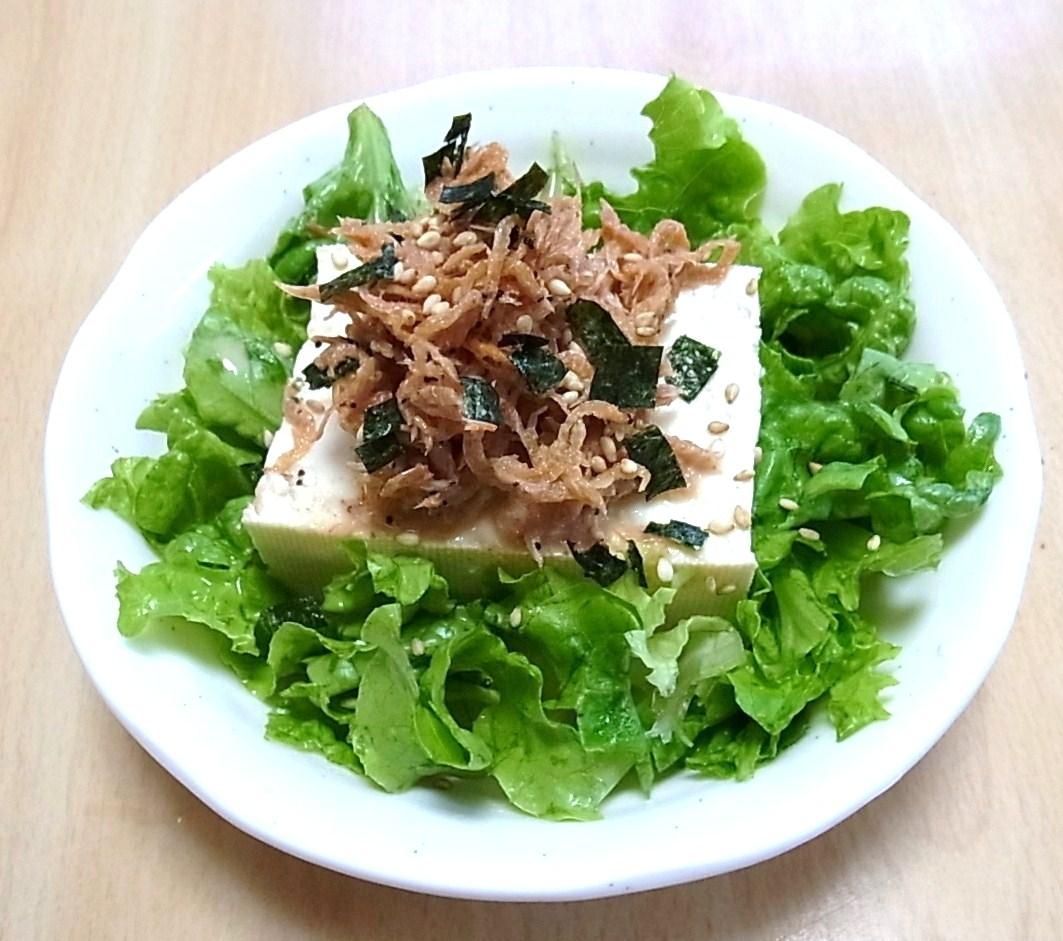 豆腐の桜えびミルクソースサラダ