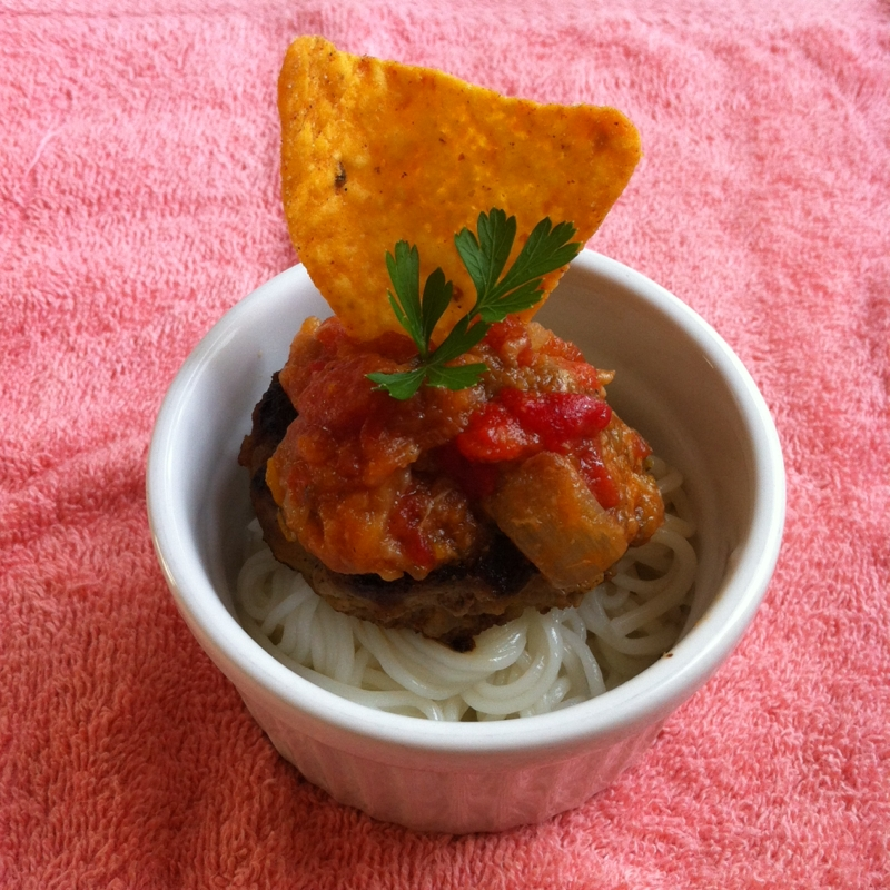 ハンバーグとラタトゥイユの洋風素麺