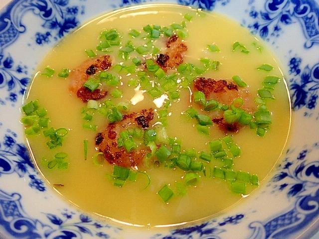 カップスープでエビと葱のリゾット風