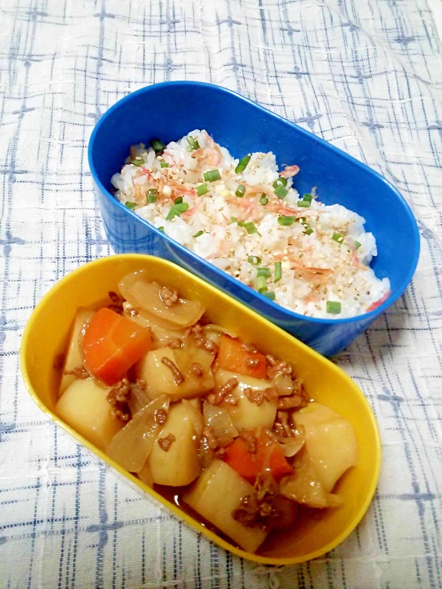 ☆肉じゃが&桜海老混ぜご飯弁当☆