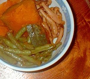 かぼちゃとしめじといんげんの煮物