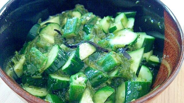 旨味たっぷり緑の副菜(きゅうり、オクラ、めかぶ)