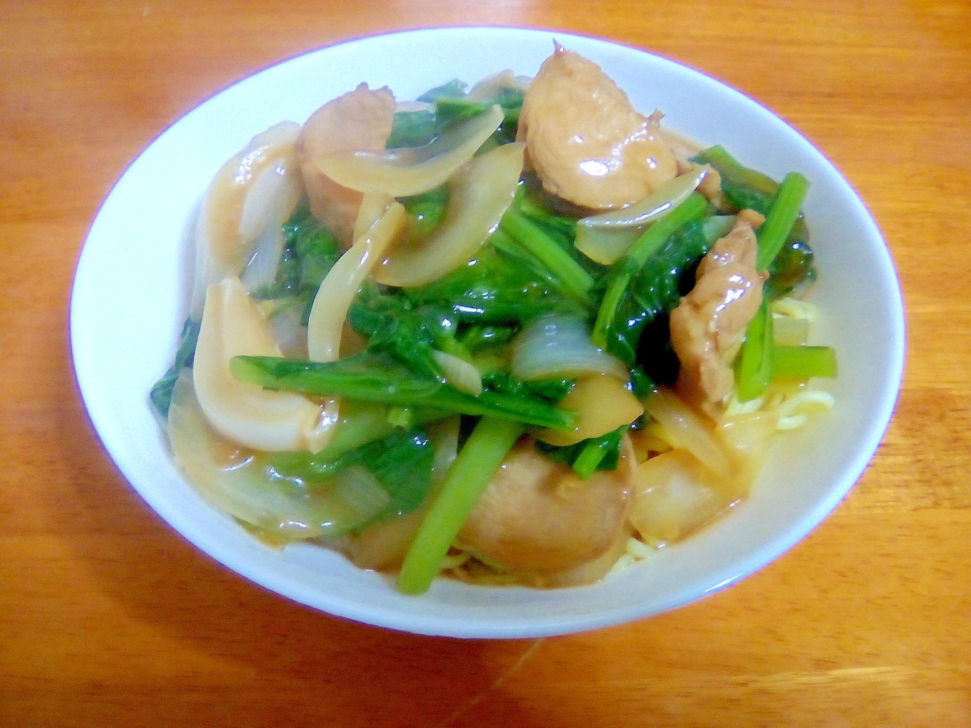 鶏ハムと小松菜のあんかけ焼きそば