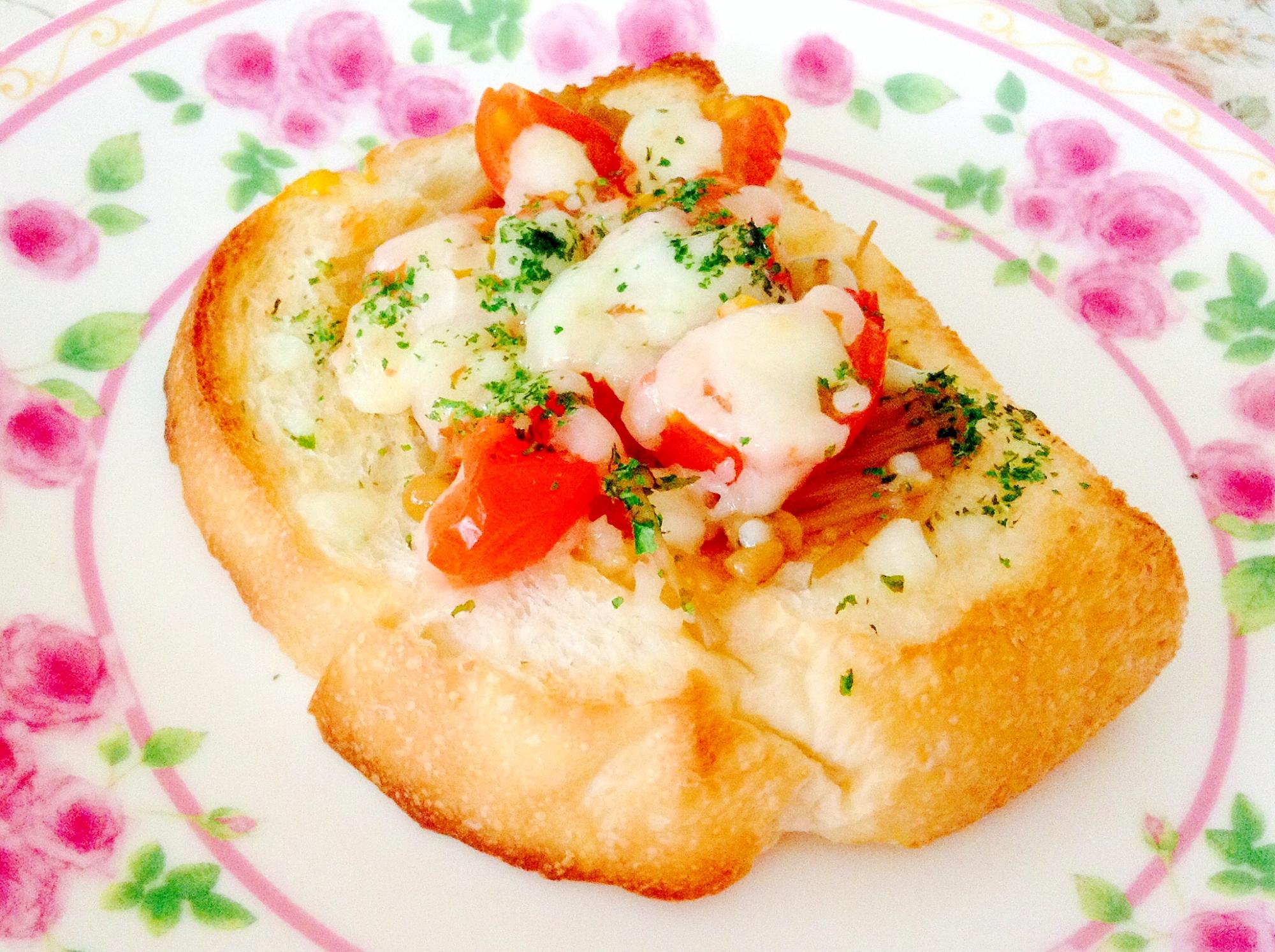 なめたけ☆トマト☆チーズ☆トースト