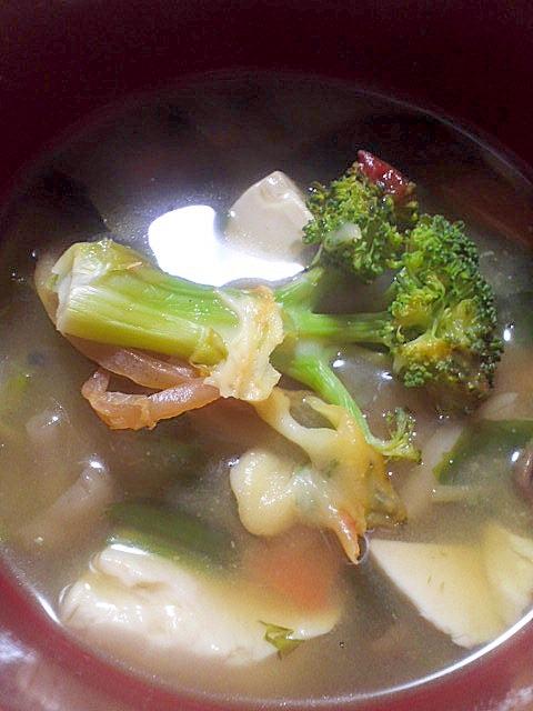 具だくさん♪豆腐&ブロッコリーのみそ汁