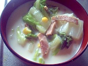白菜とベーコンのミルクスープ