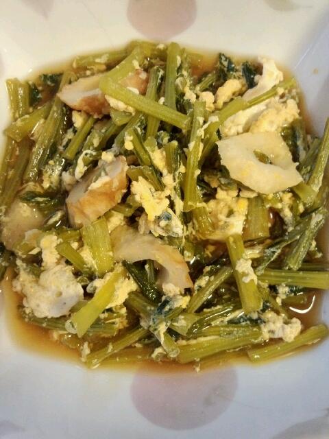 麺つゆで!小松菜の♪ちくわ入り卵とじ煮☆