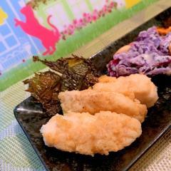 醤油香る鶏ささ身と大葉の天ぷら