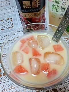 熱中症予防に☆西瓜&南瓜の黒酢&塩麹きなこミルク♪