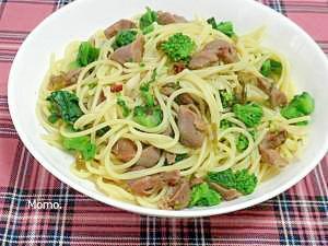 ピリ辛♪砂肝と辛子高菜のパスタ