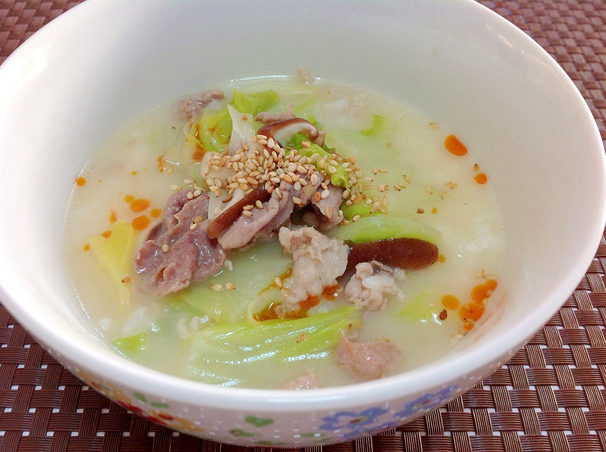濃厚豚骨風☆ポカポカスープご飯☆